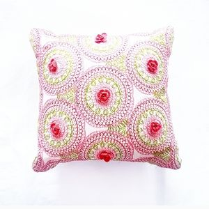 EMBROIDERED & CROCHET Floral Square Pillow